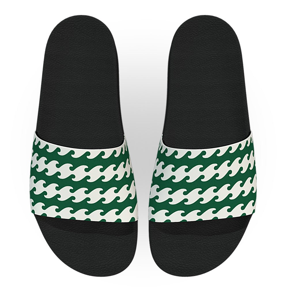 Dark Green and White Waves Pattern Slide Sandals