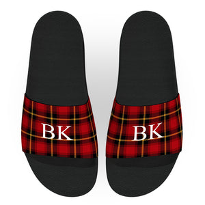 Monogrammed Clan Wallace Tartan Red Plaid Slides