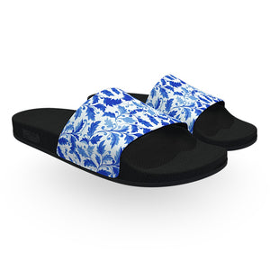 Dutch Blue and White Leaf Pattern Slide Sandals