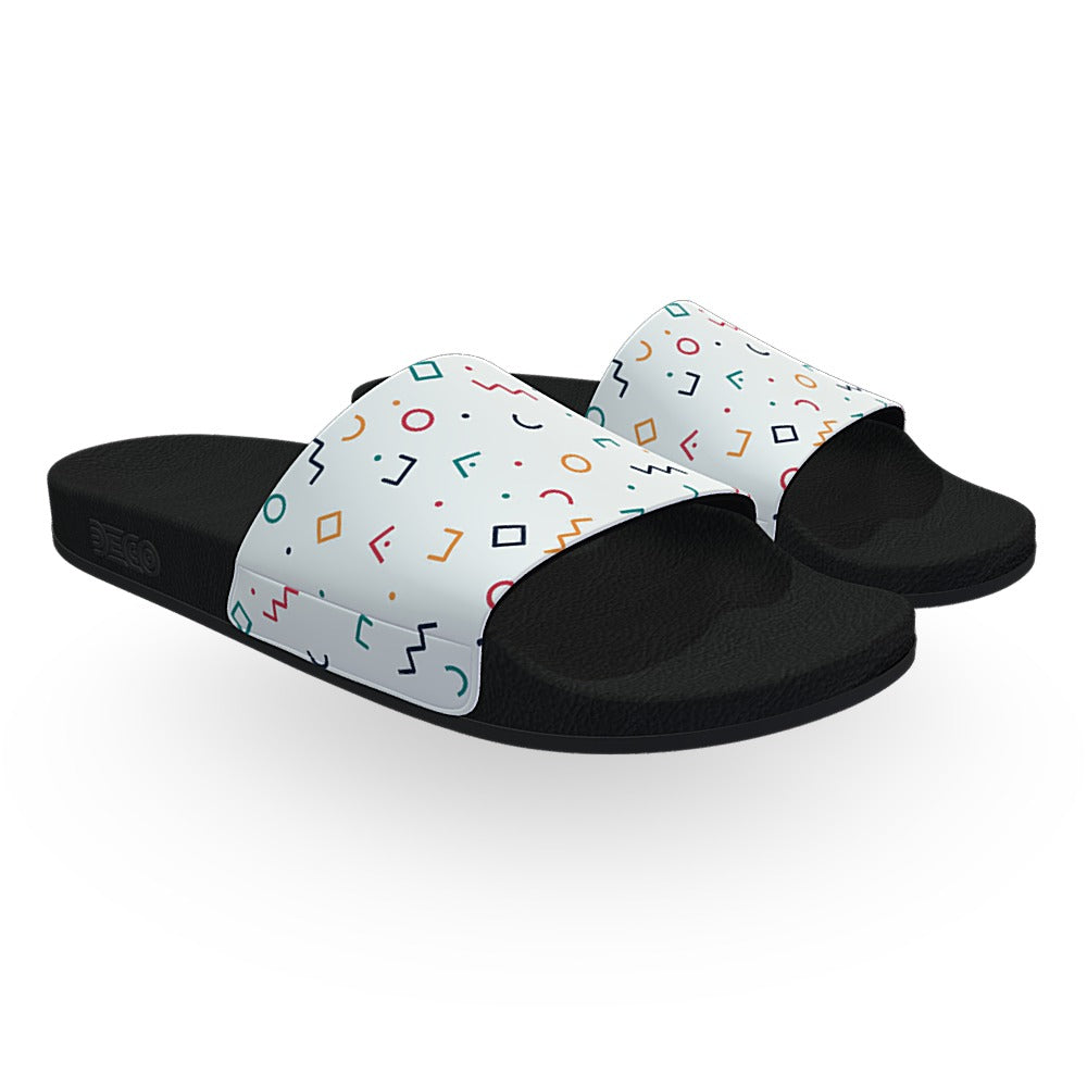 White Memphis Confetti Slide Sandals