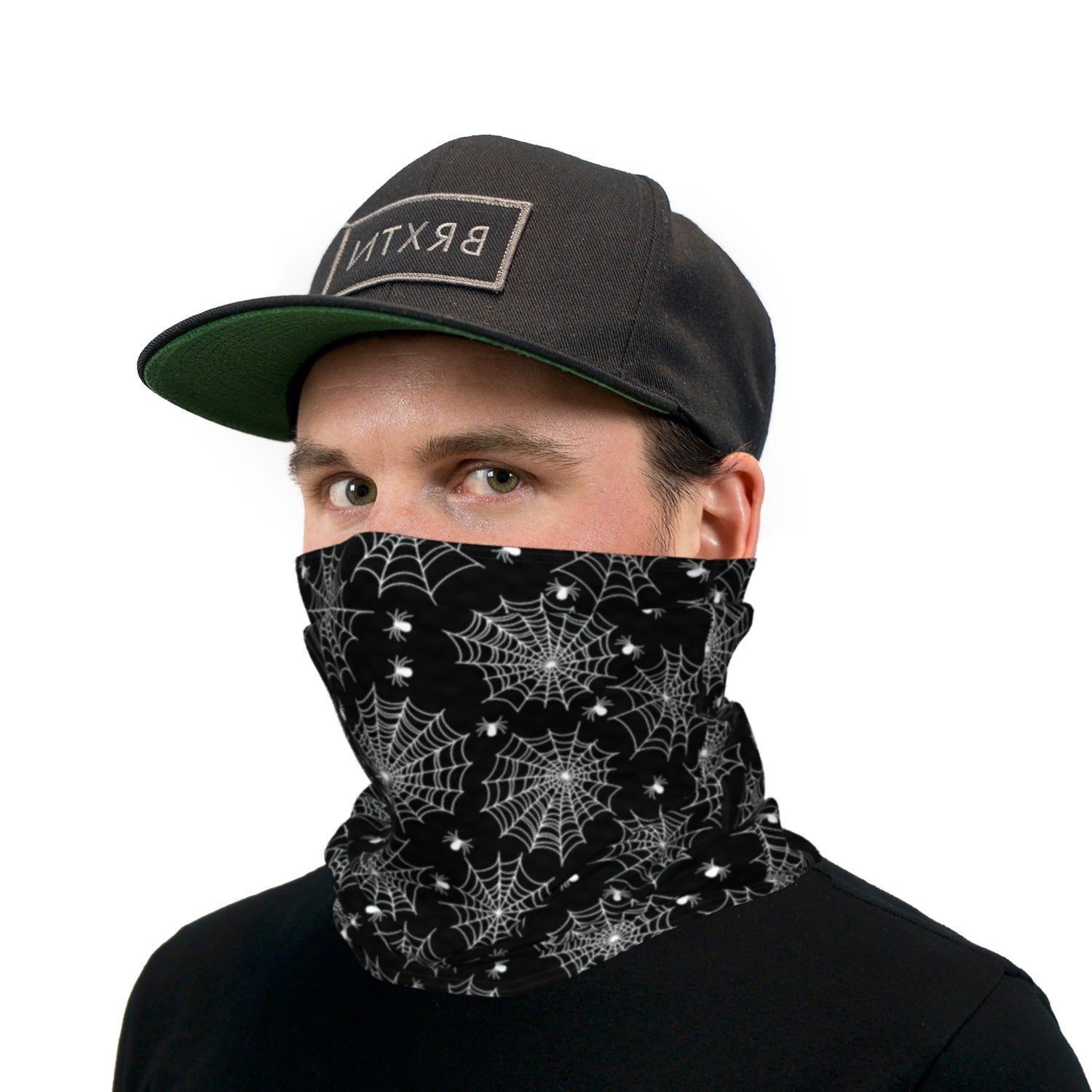 Black and White Spiders and Webs Neck Gaiter Face Mask