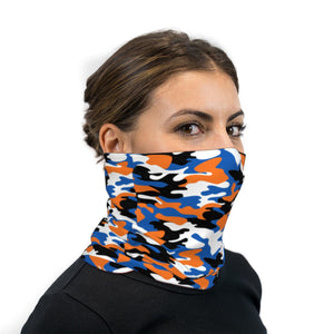 Blue and Orange Camouflage Neck Gaiter Face Mask