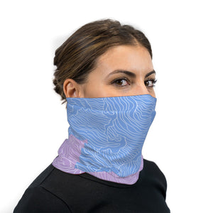 Light Blue And Pink Topographical Wave Neck Gaiter Face Mask