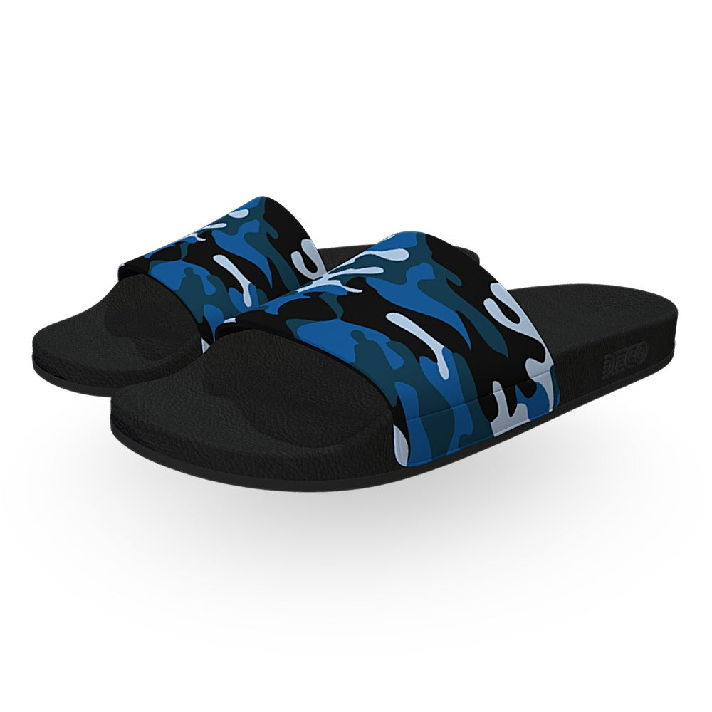 Blue Woodland Camouflage Slide Sandals