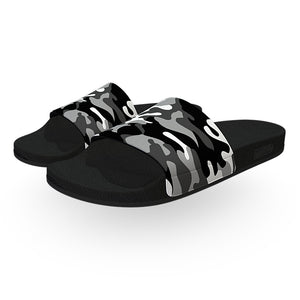Black and White Woodland Camouflage Slide Sandals