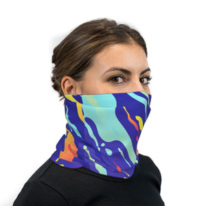 Abstract Liquid Spills Neck Gaiter Face Mask
