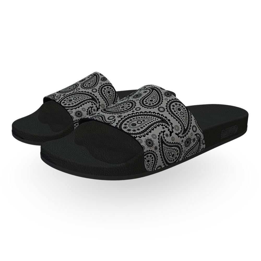 Gray and Black Bandana Slide Sandals