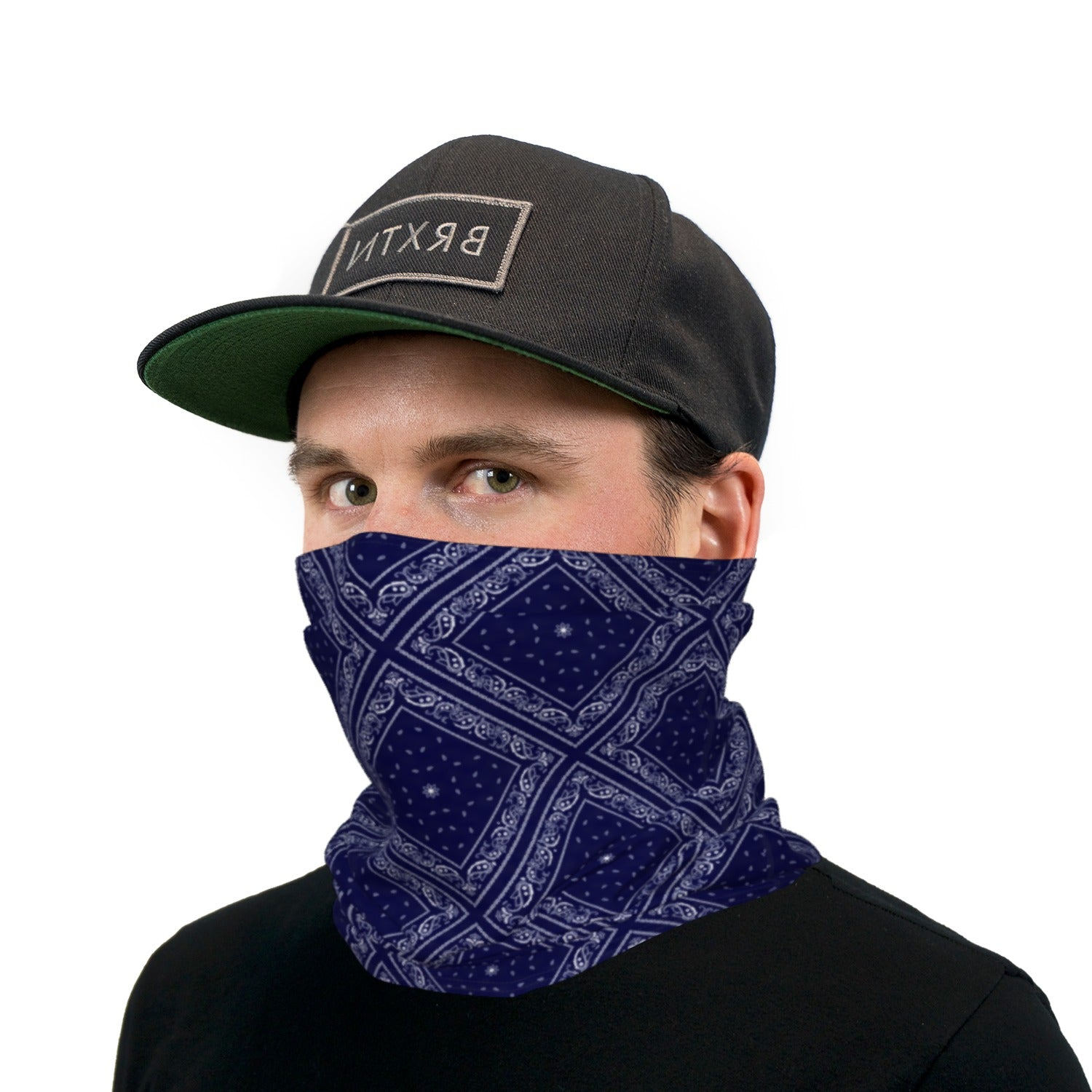 Navy Blue Bandana Paisley Neck Gaiter Face Mask