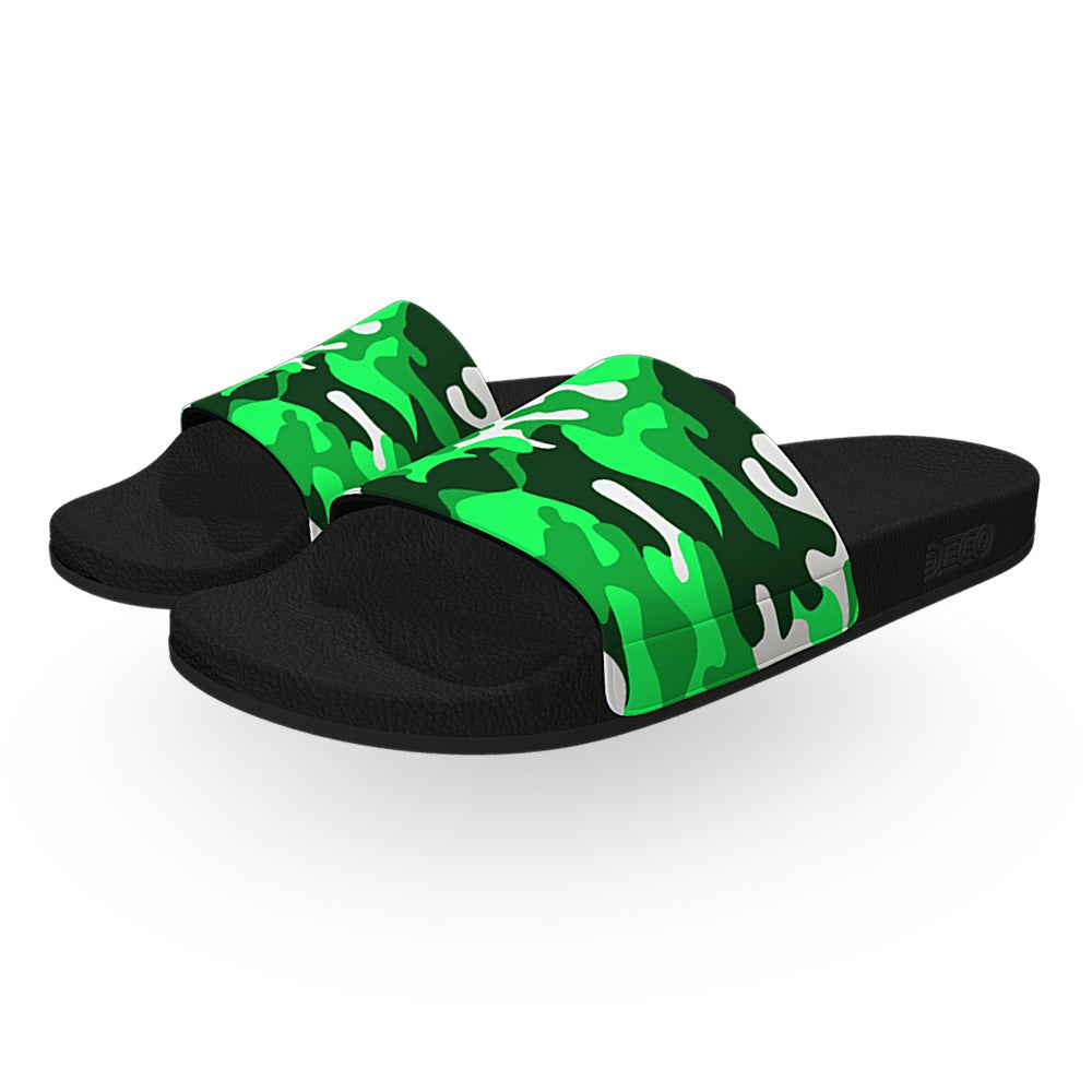 Lime Green Woodland Camouflage Slide Sandals