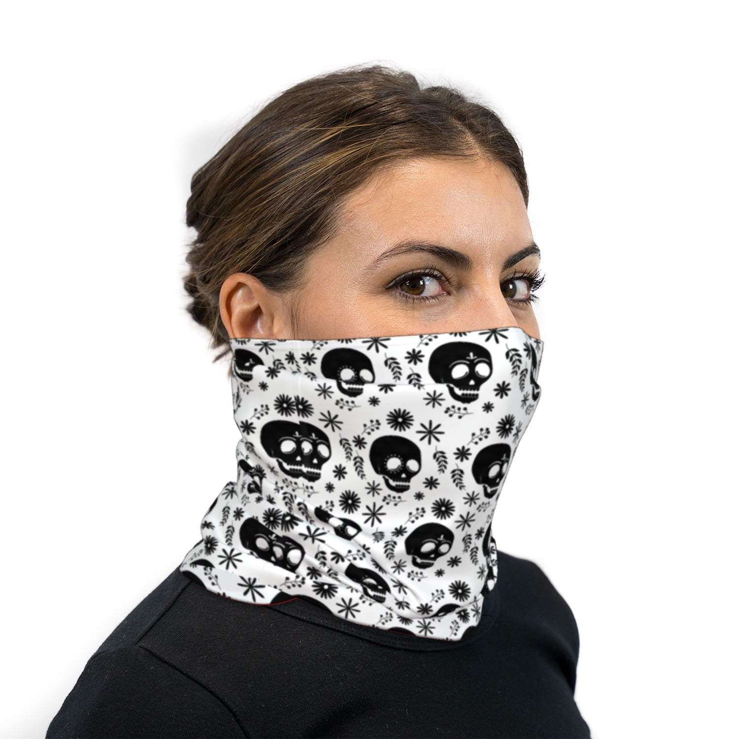 White And Black Dia De Los Muertos Neck Gaiter Face Mask
