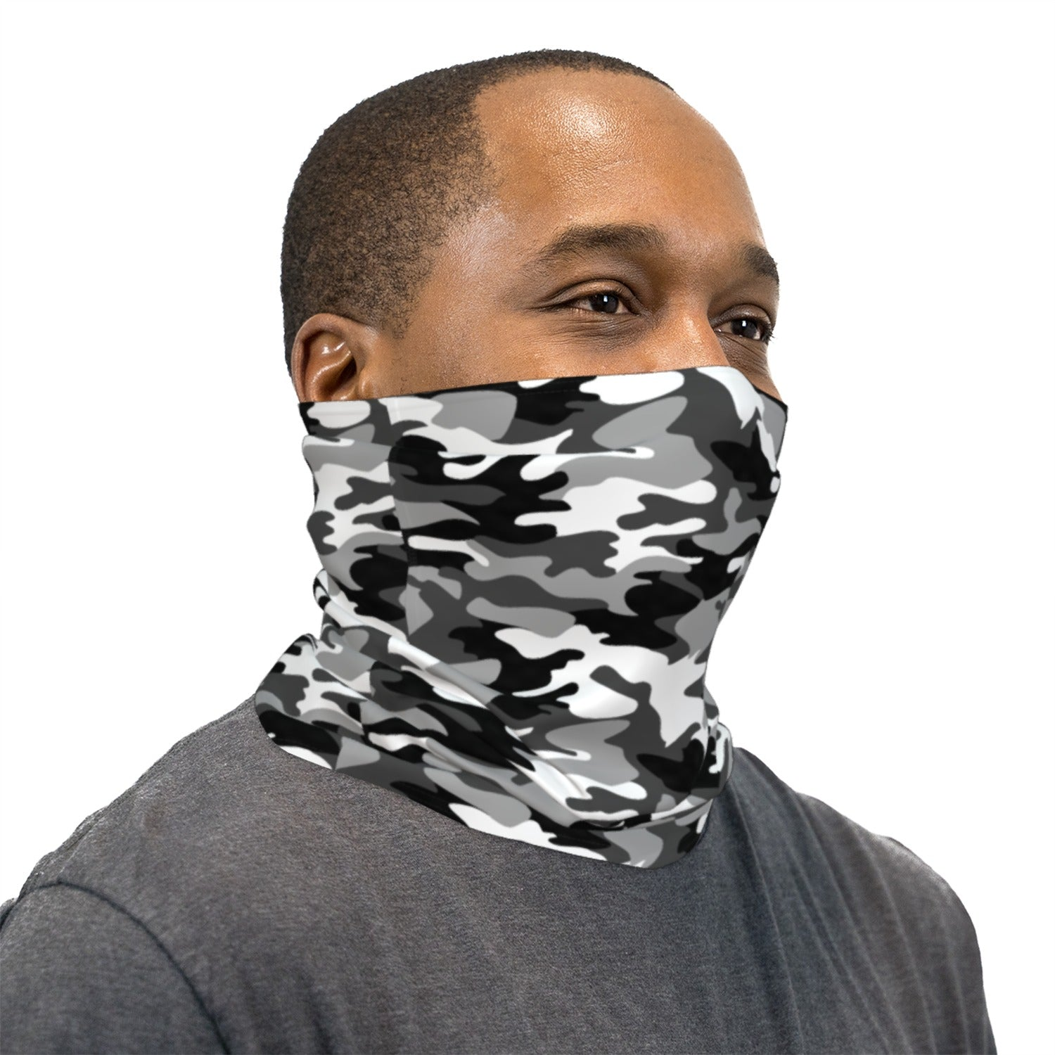 Black and White Camouflage Neck Gaiter Face Mask