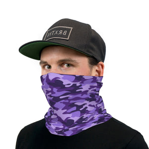 Purple Camouflage Neck Gaiter Face Mask
