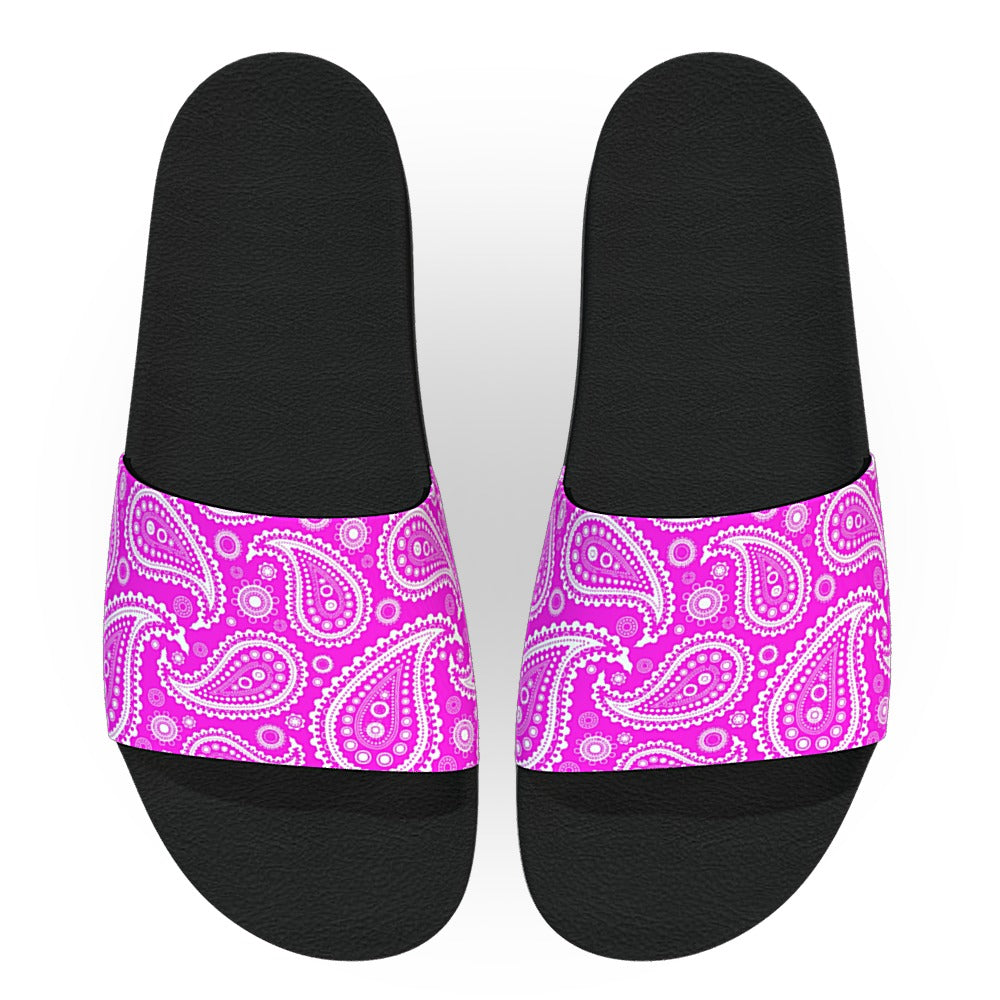 Hot Pink and White Bandana Slide Sandals