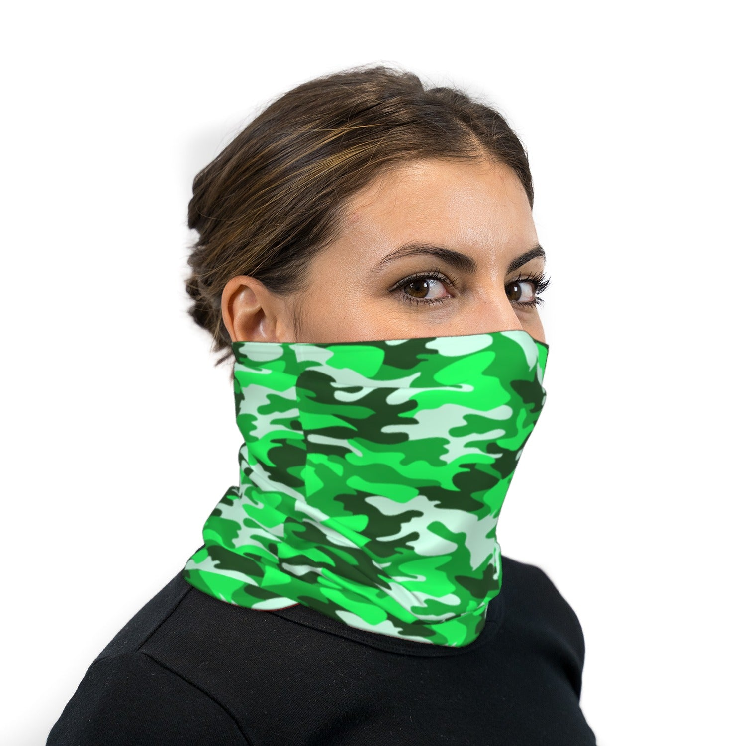 Lime Green Camouflage Neck Gaiter Face Mask