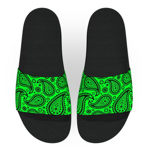 Bright Green Bandana Slide Sandals