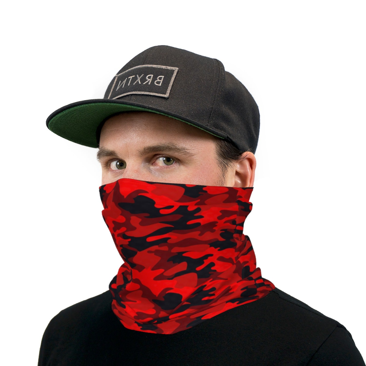 Dark Red and Black Camouflage Neck Gaiter Face Mask