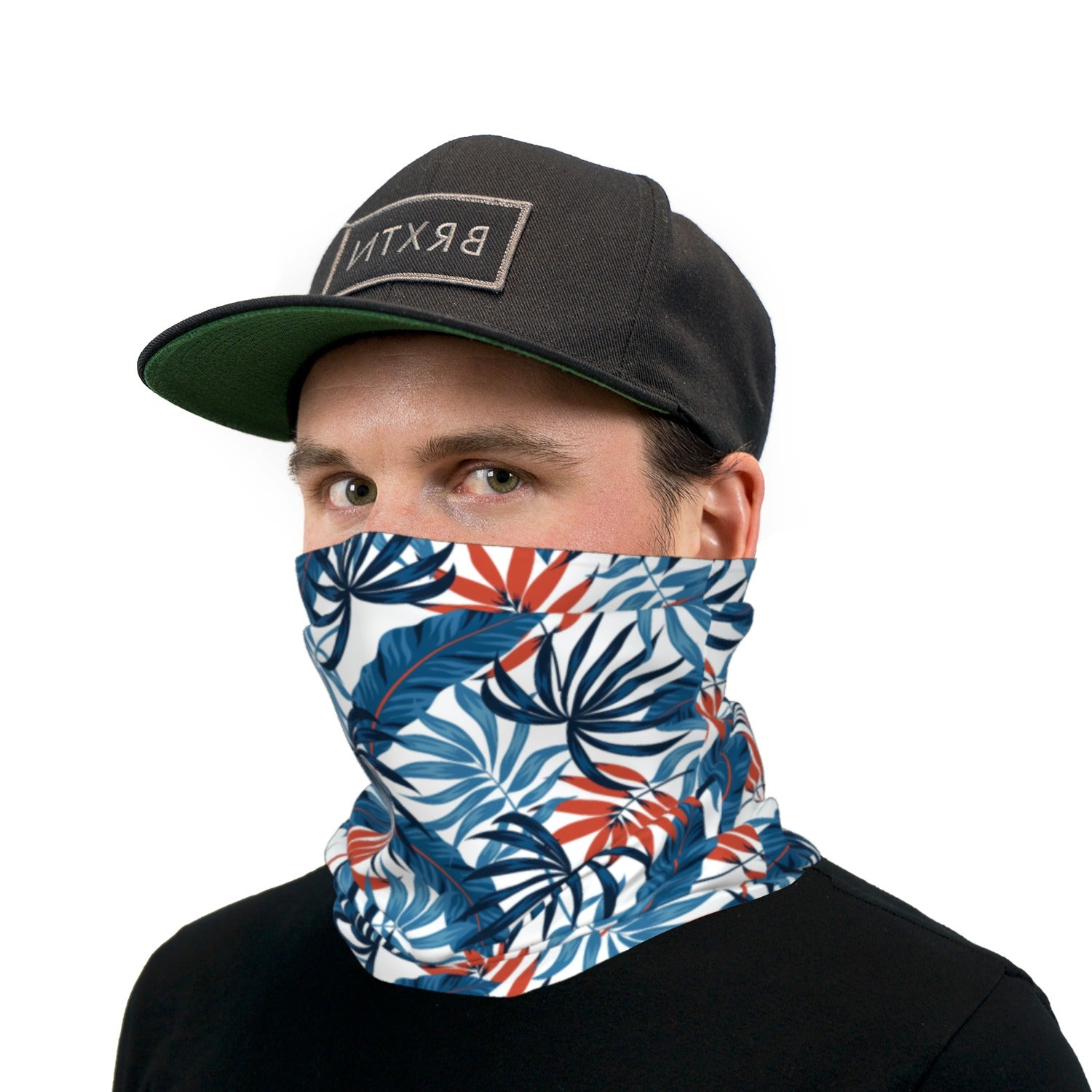 Blue Orange And White Tropical Leaves Neck Gaiter Face Mask