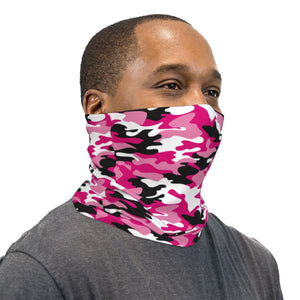 Pink Black and White Camouflage Neck Gaiter Face Mask