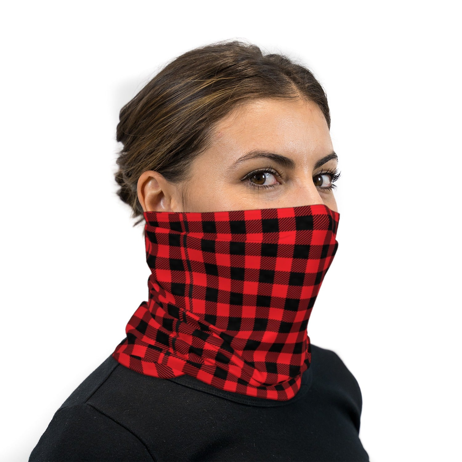 Red And Black Plaid Neck Gaiter Face Mask