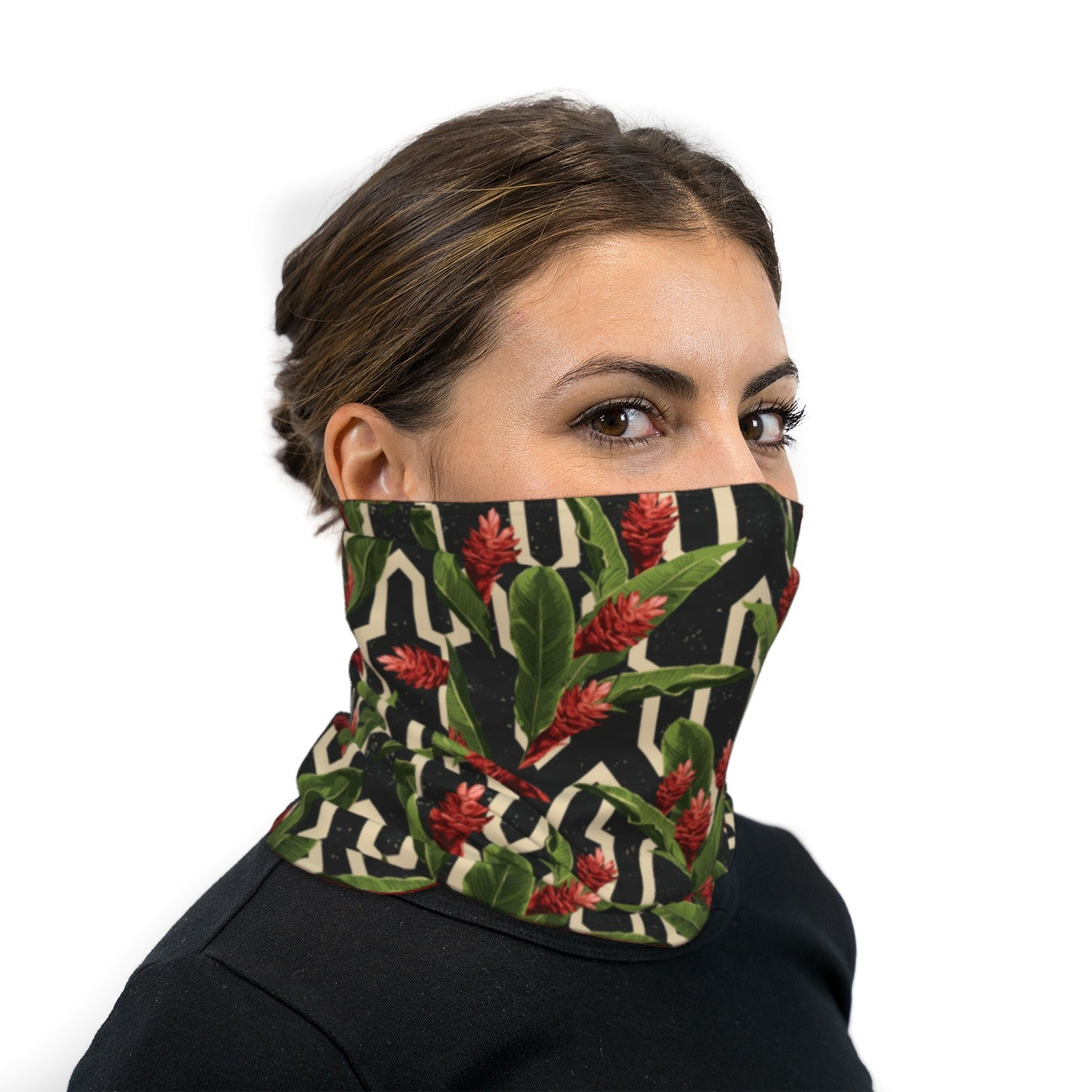 Tropical Space Print Neck Gaiter Face Mask