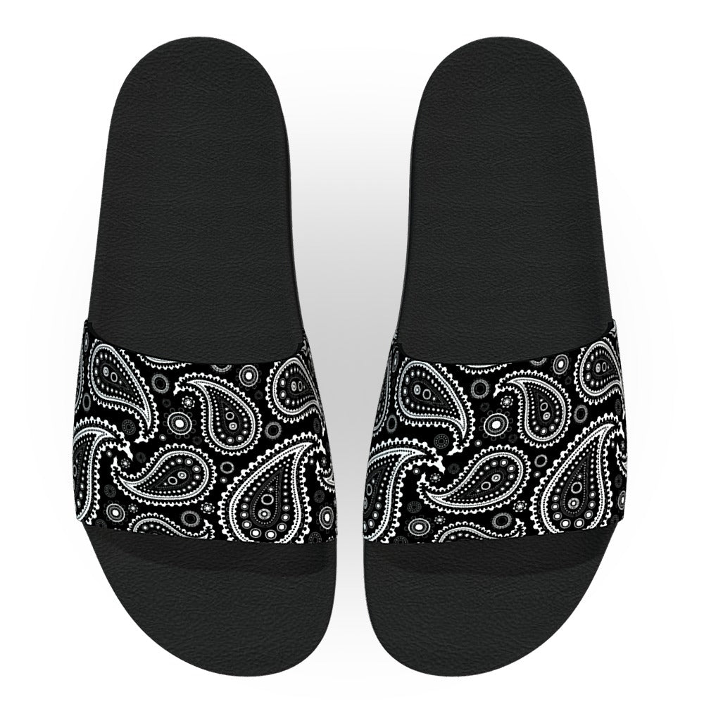 Black Bandana Paisley Pattern Slide Sandals