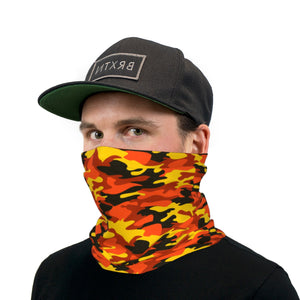 Orange Black and Yellow Camouflage Neck Gaiter Face Mask