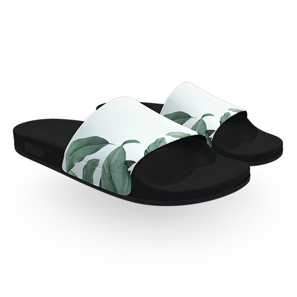 Green Tropical Leaves Slide Sandals