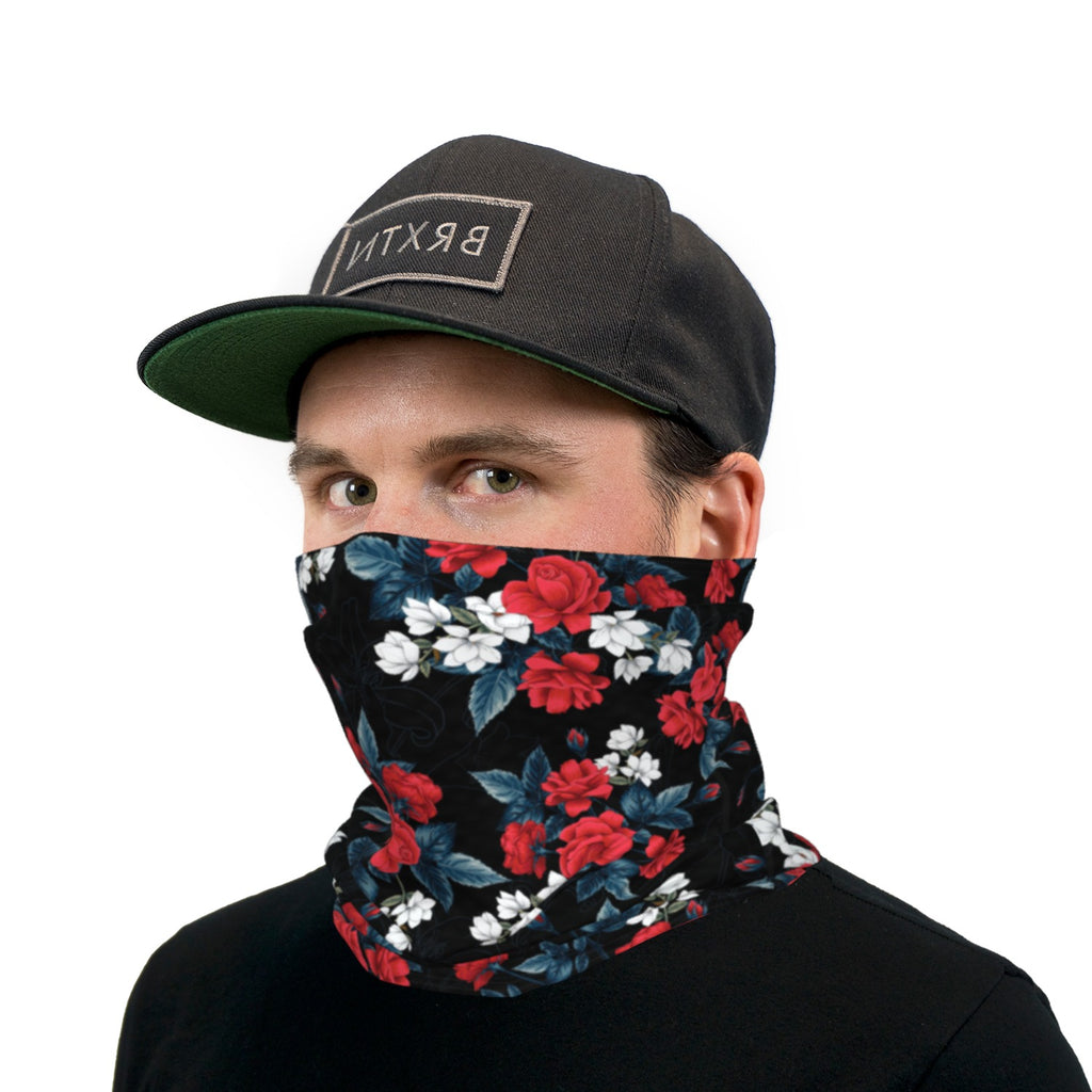 Black Red White And Blue Roses Neck Gaiter Face Mask