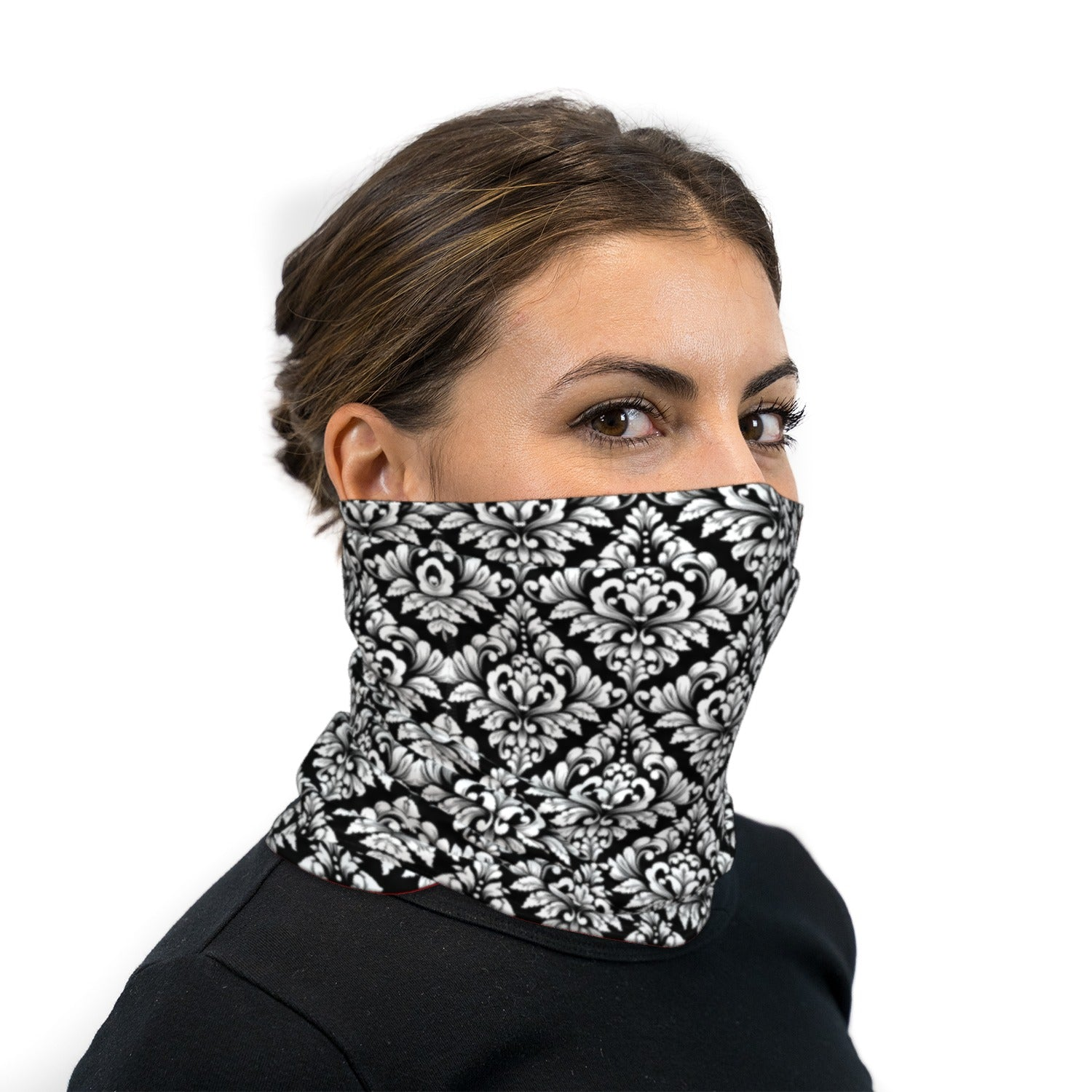 Black And White Damask Pattern Neck Gaiter Face Mask