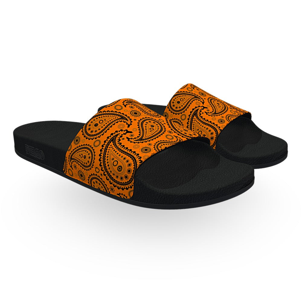 Orange and Black Bandana Slide Sandals