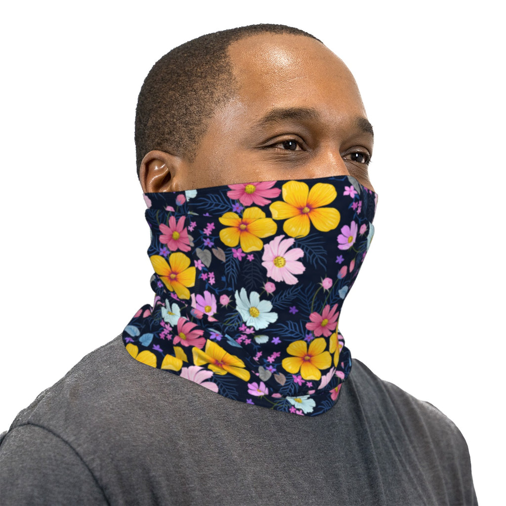Yellow Pink Blue And Black Flowers Neck Gaiter Face Mask