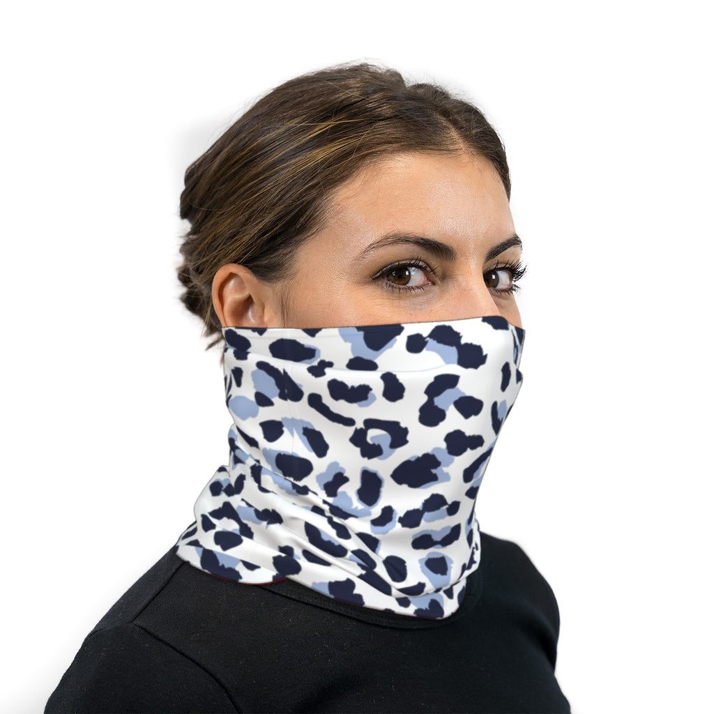 Snow Leopard Print Neck Gaiter Face Mask