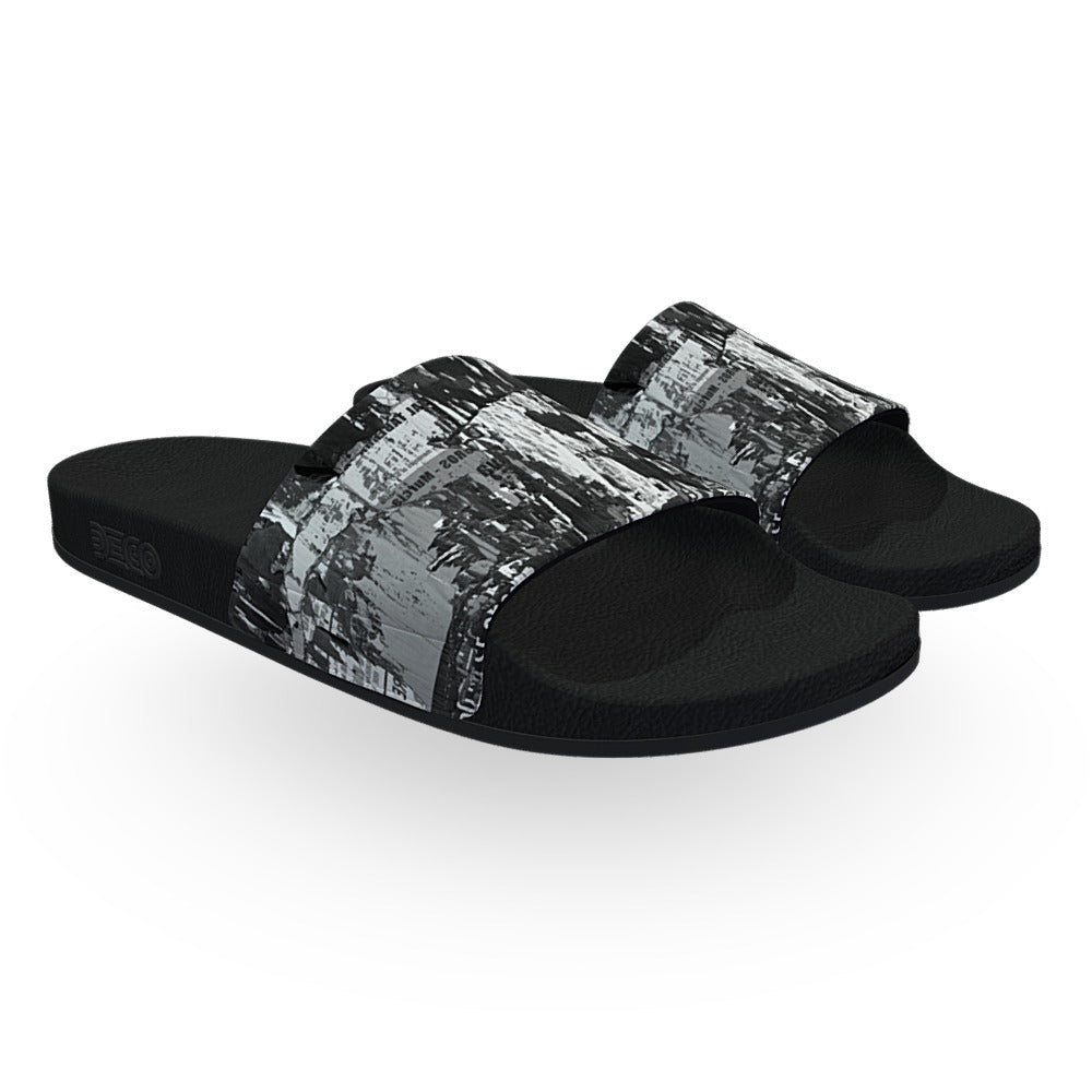 Black and White Collage Slide Sandals