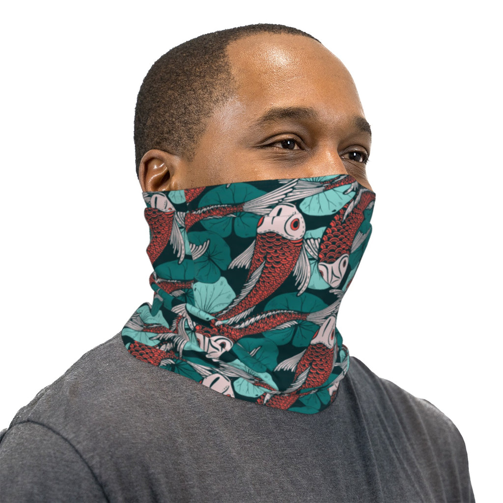 Red And Green Koi Fish Neck Gaiter Face Mask