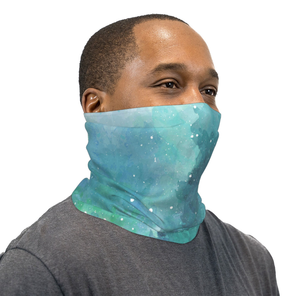 Turquoise Space Watercolor Neck Gaiter Face Mask