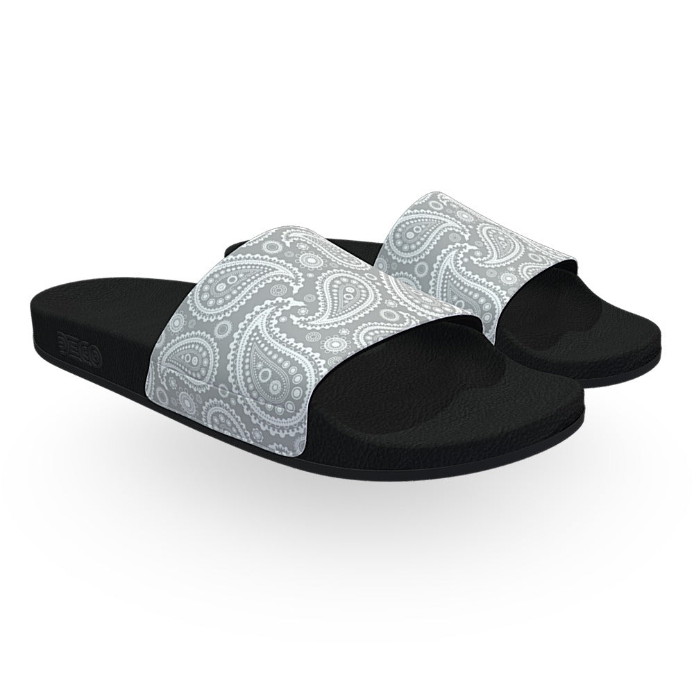 Light Gray and Black Bandana Slide Sandals