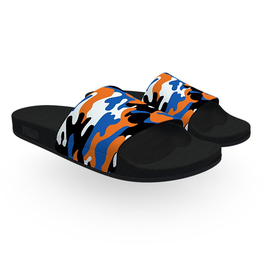 Orange and Blue Woodland Camouflage Slide Sandals