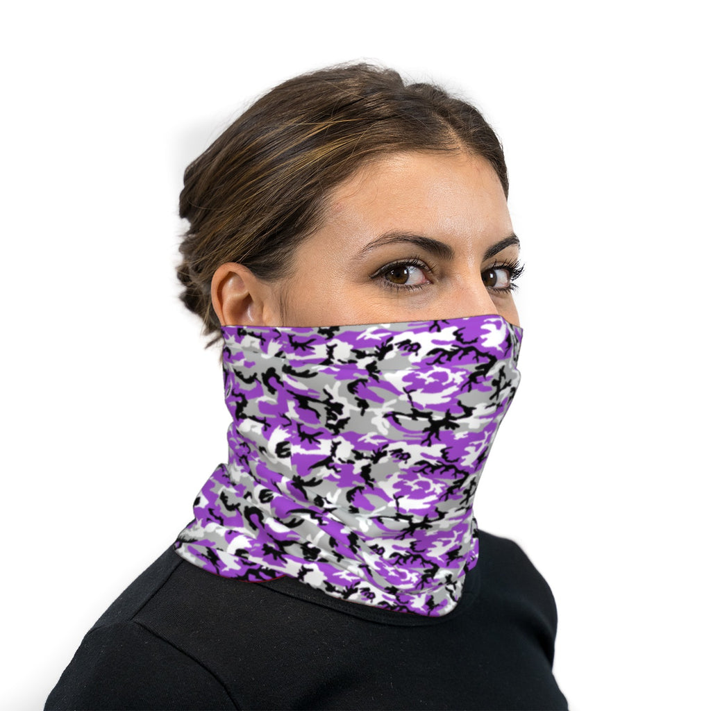 Purple Black and White ERDL Camouflage Neck Gaiter Face Mask