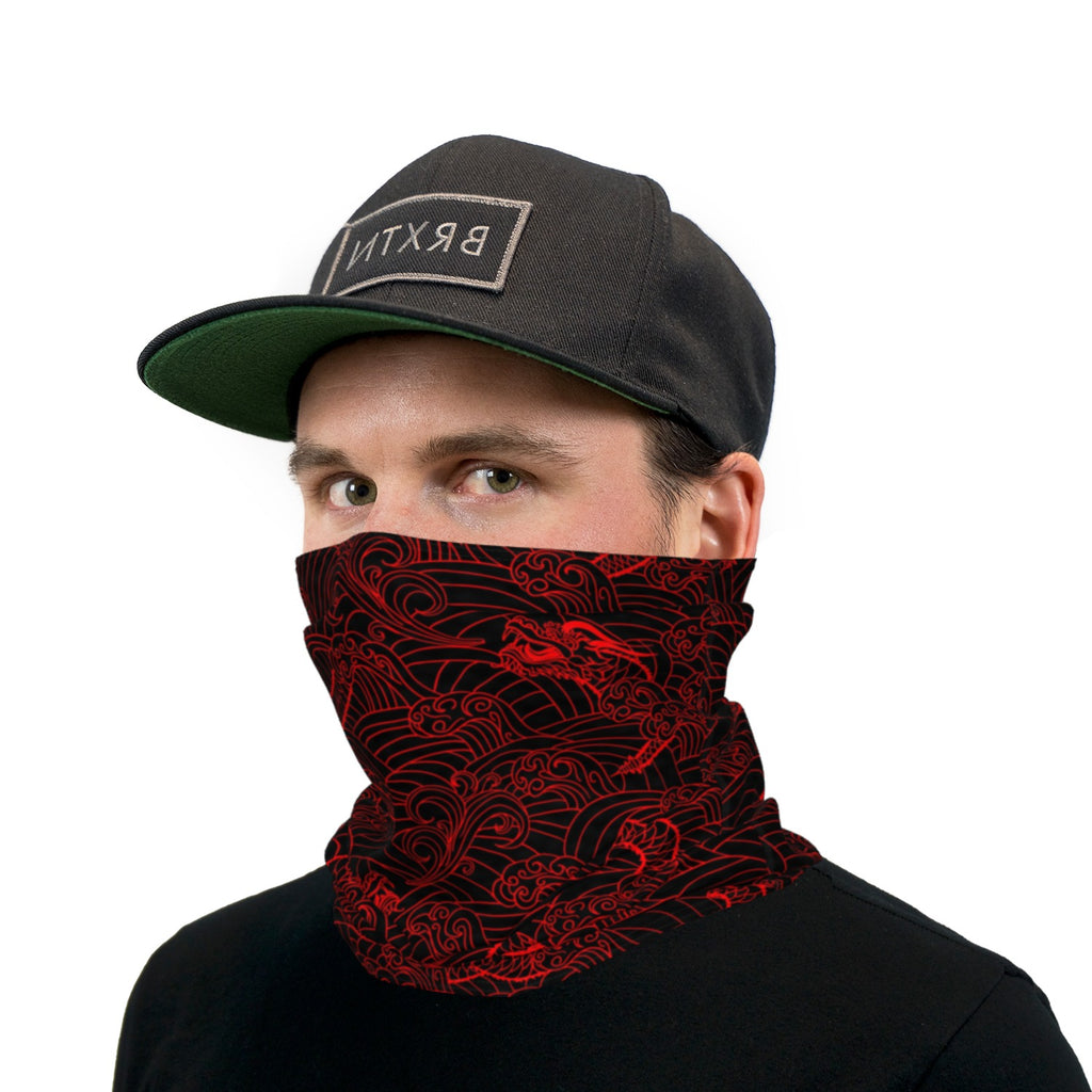Black And Red Japanese Dragon Neck Gaiter Face Mask