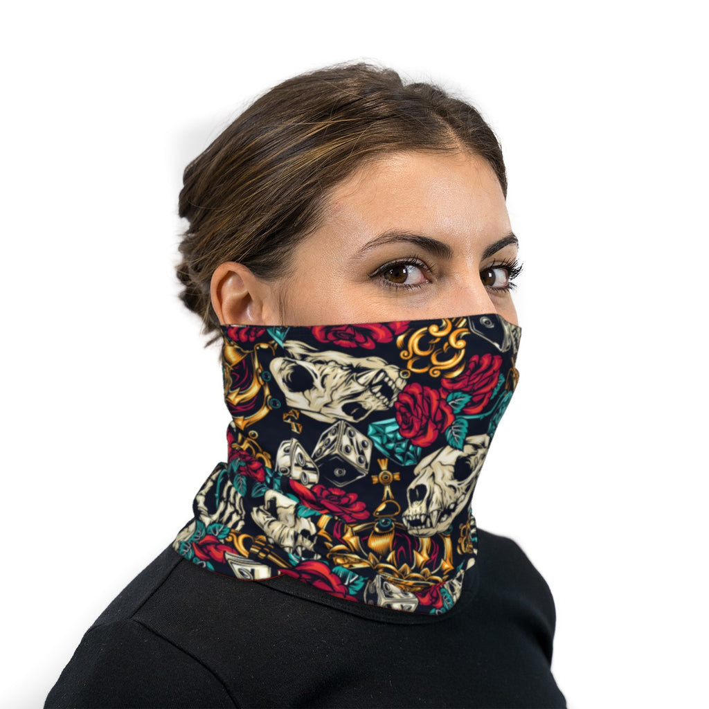 Skull Dice Roses And Crowns Neck Gaiter Face Mask