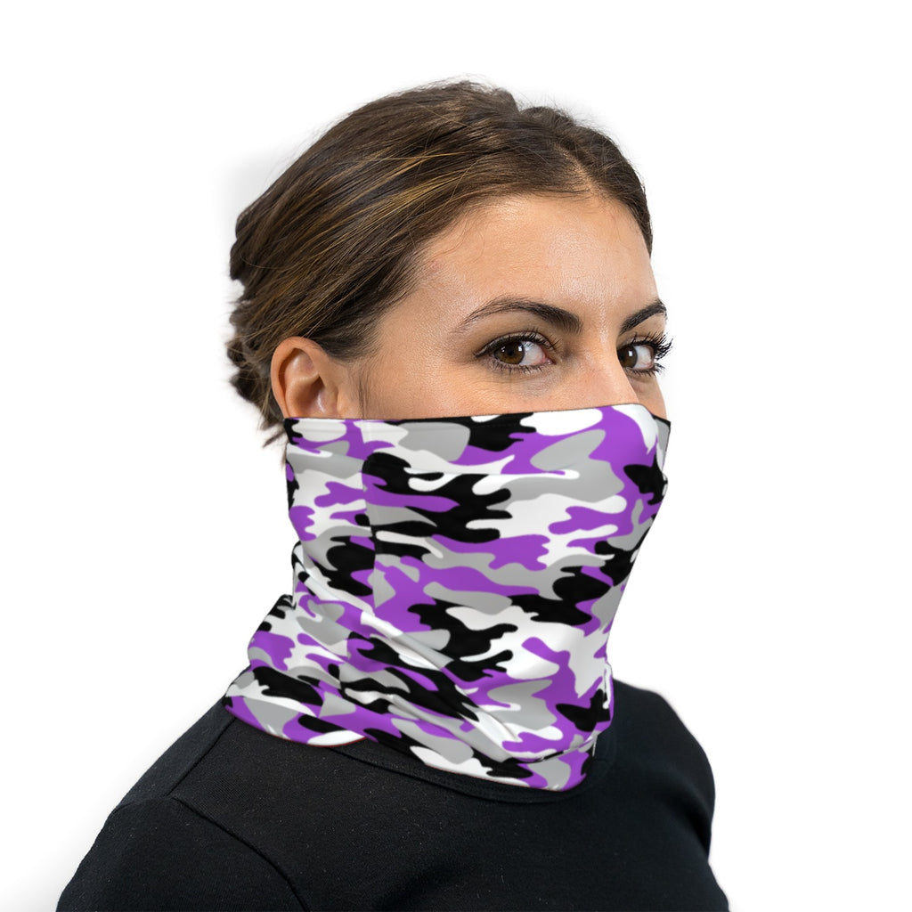 Purple Black and White Camouflage Neck Gaiter Face Mask