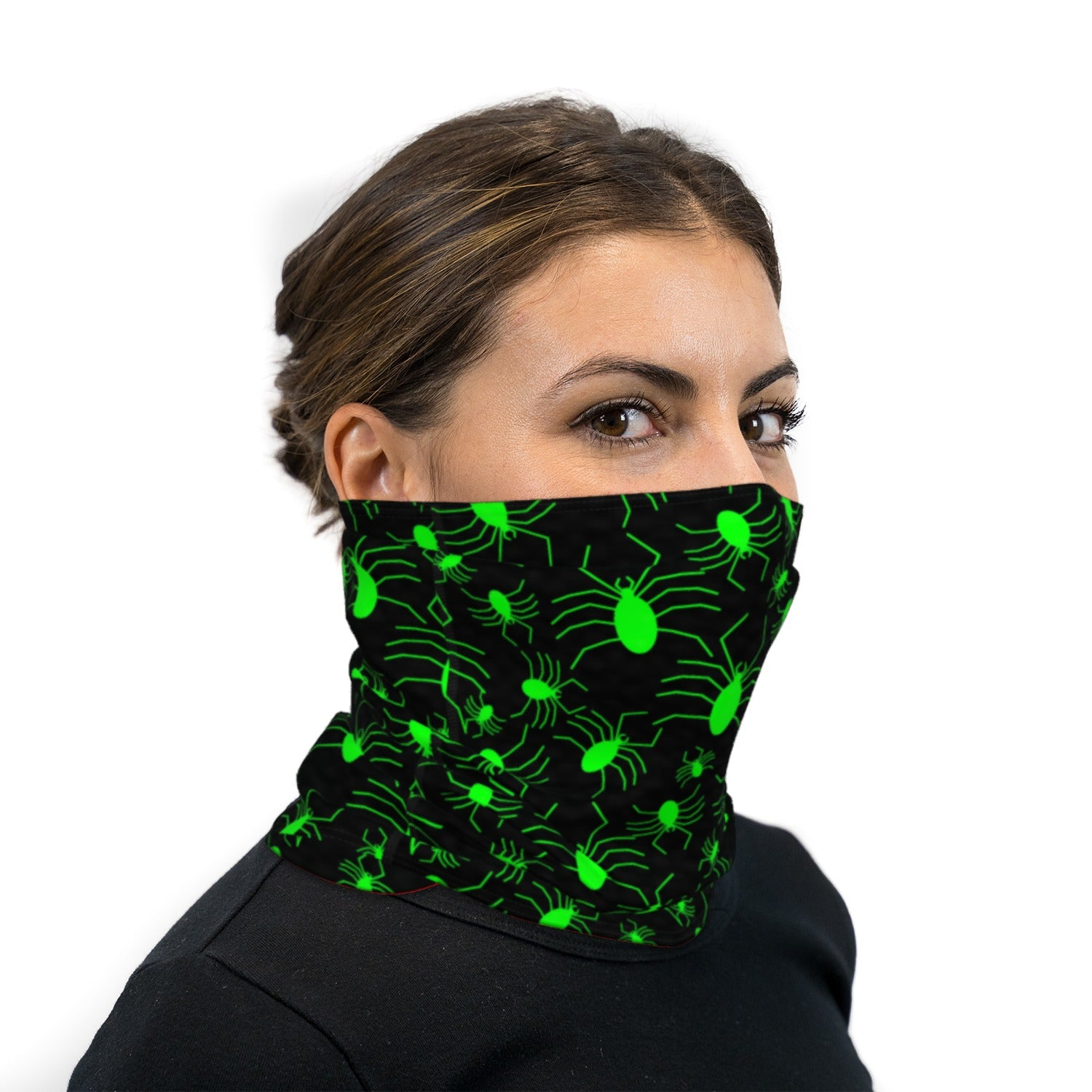 Black and Green Slime Spiders Neck Gaiter Face Mask