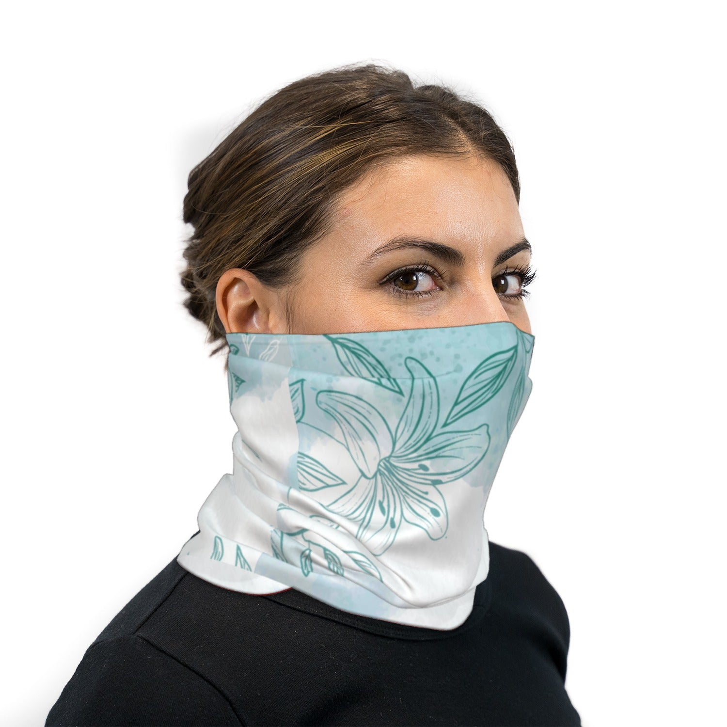 Green Watercolor Flowers Neck Gaiter Face Mask