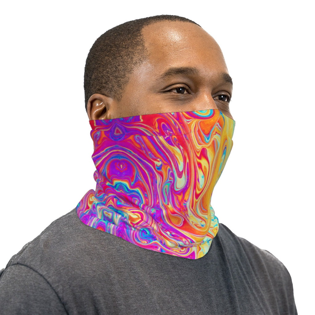 Soap Bubble Pink Blue and Yellow Neck Gaiter Face Mask