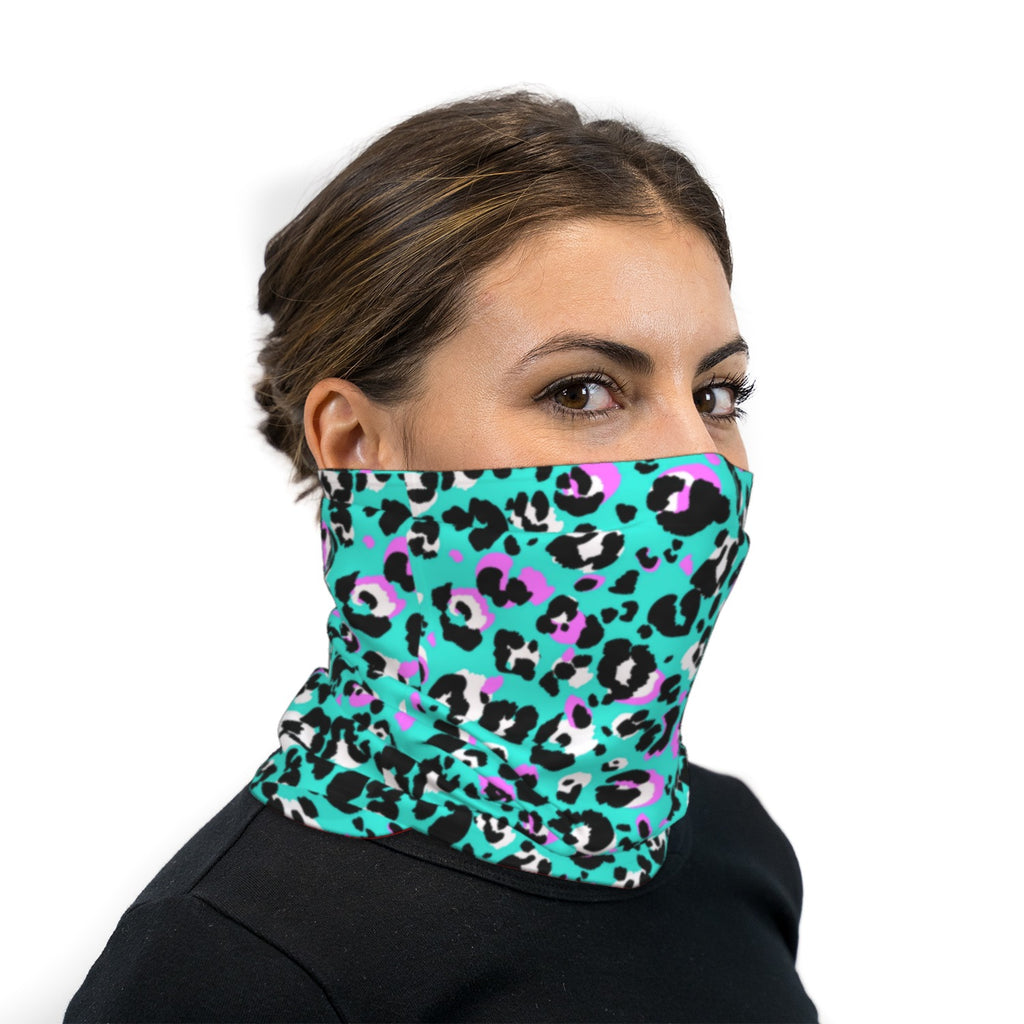 Turquoise Black and Pink Leopard Print Neck Gaiter Face Mask