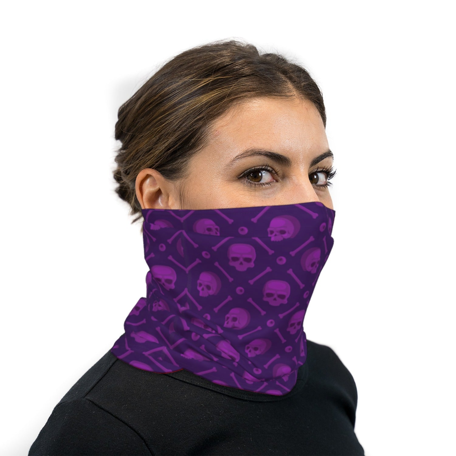 Purple Cartoon Skull Neck Gaiter Face Mask