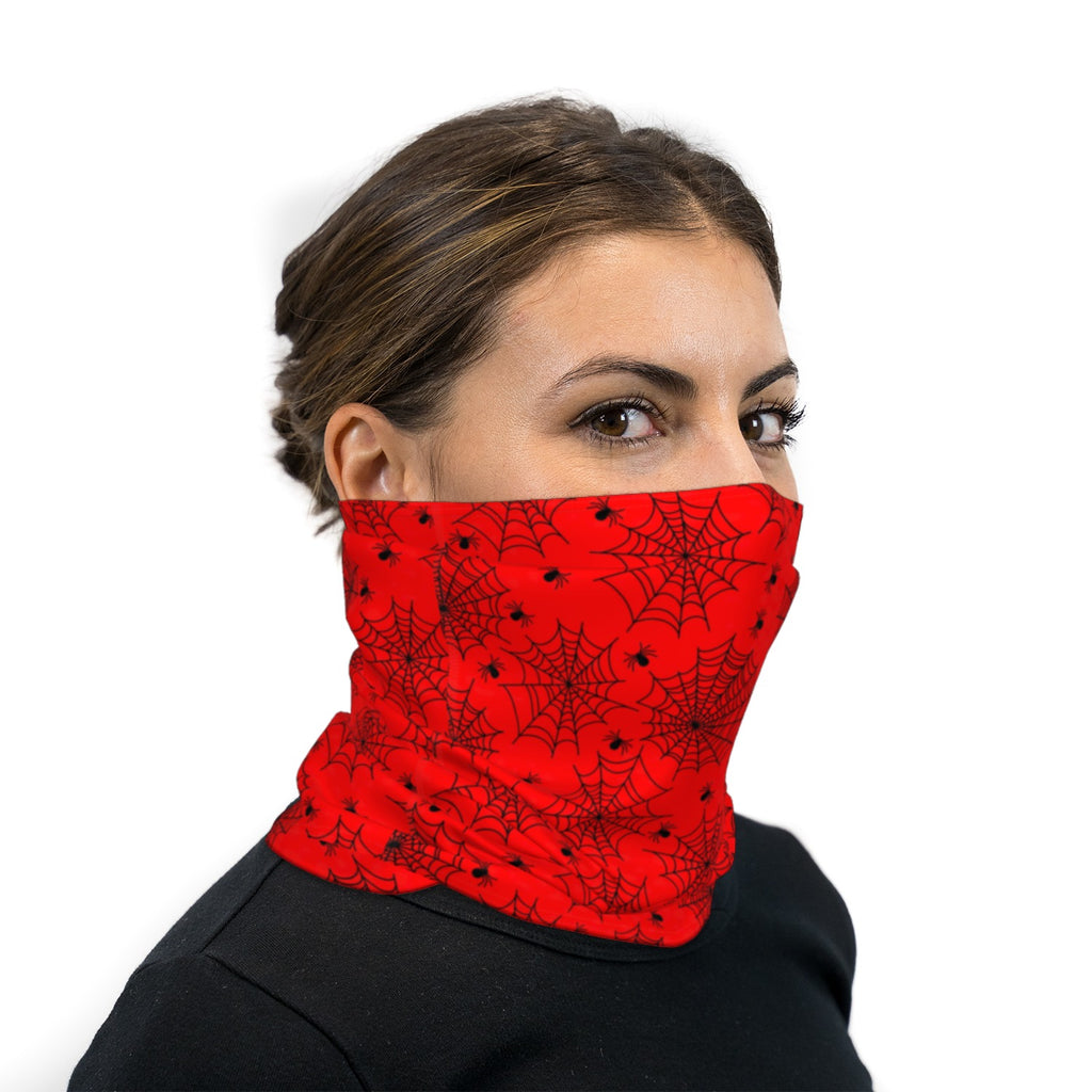 Red and Black Spiders and Webs Neck Gaiter Face Mask