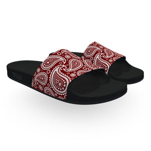 Dark Red and White Bandana Slide Sandals