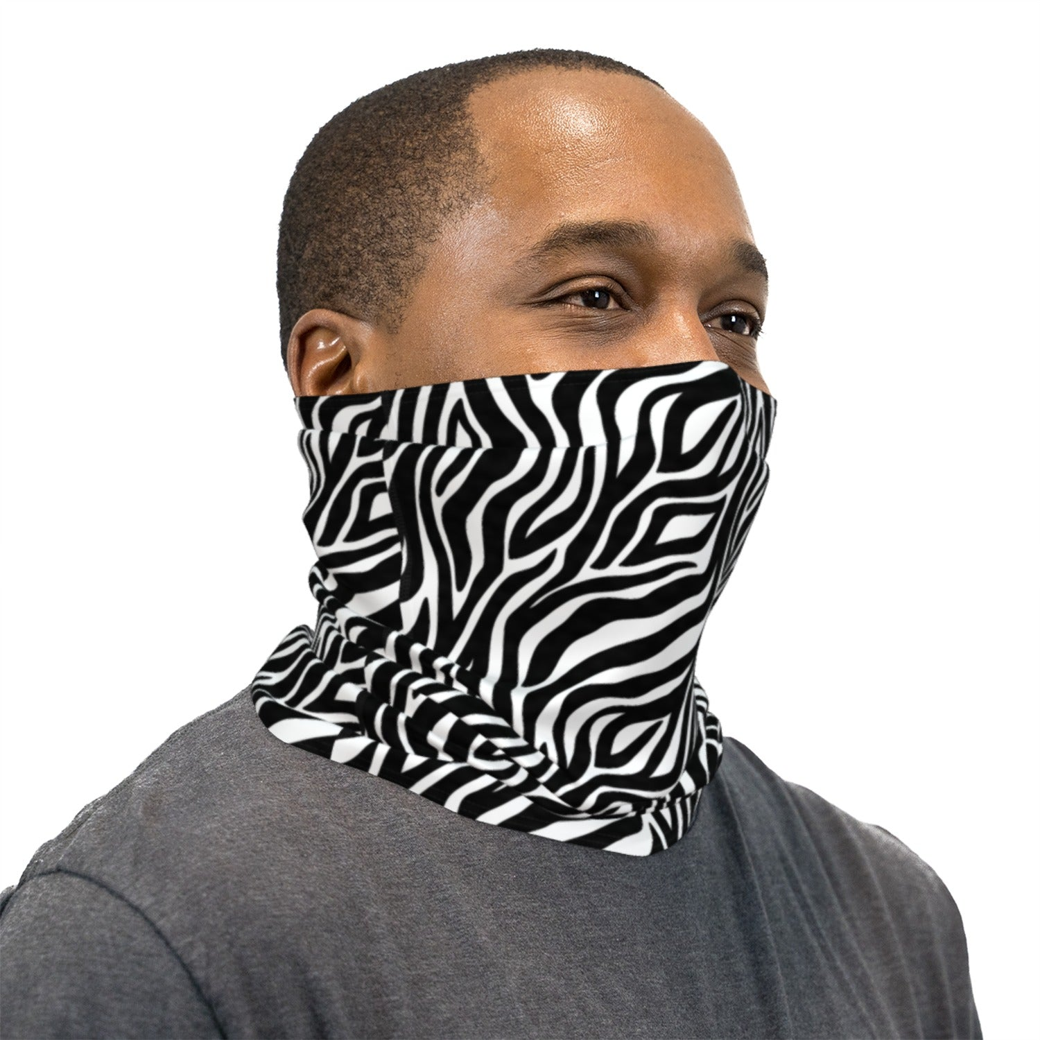 Zebra Print Neck Gaiter Face Mask