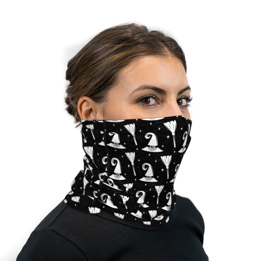 Witches Hat and Broom Neck Gaiter Face Mask